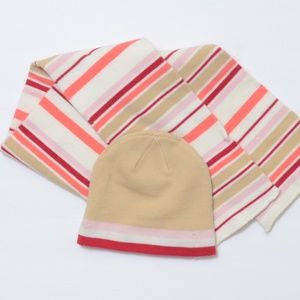 *Hat And Scarf*Tan Stripe 2-pc.Light Knit Set